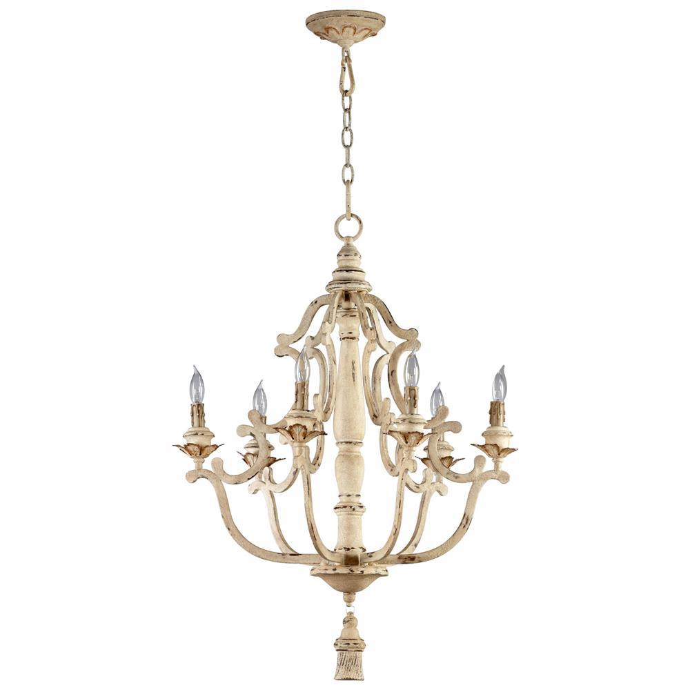 Maison french country antique white 6 light chandelier kathy kuo home - Classic wrought iron chandeliers adding more elegance in the room ...