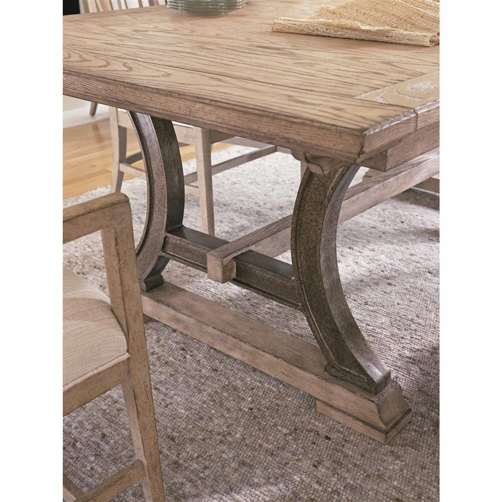 Trestle Extension Dining Table: Rodanthe Weathered Trestle Base Extension Dining Table