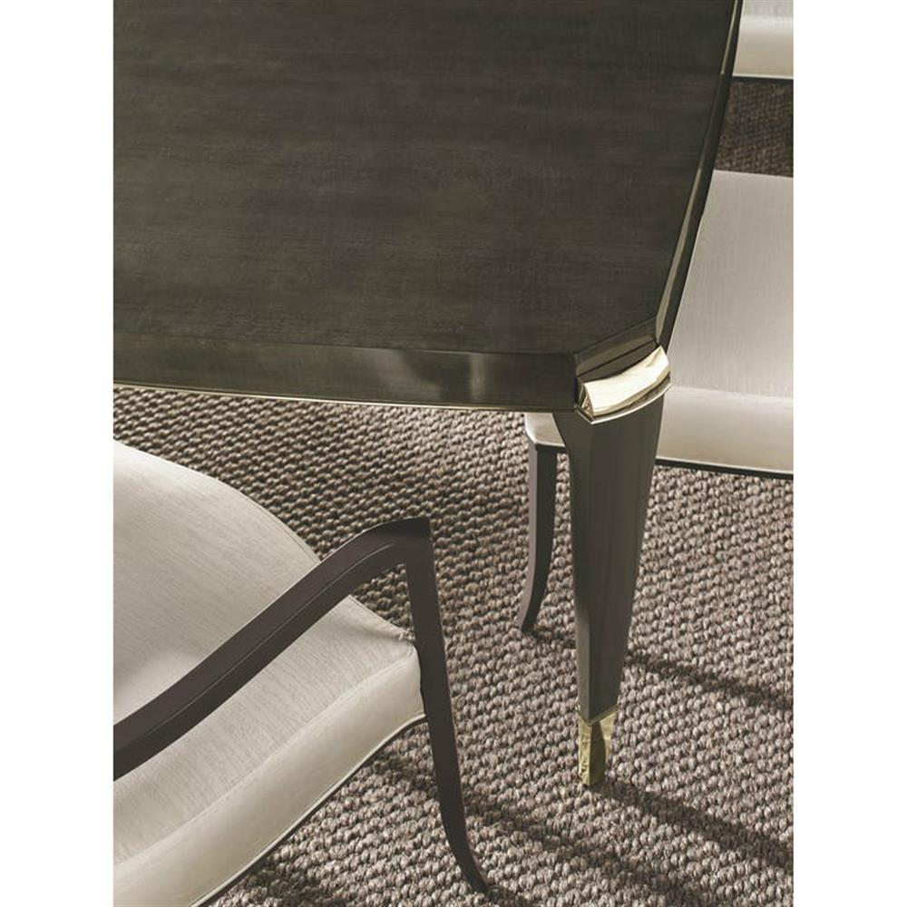Illinois Modern Two Tone Large Round Dining Table With 8: Donna Modern Classic Rectangular Gold Accent Charcoal