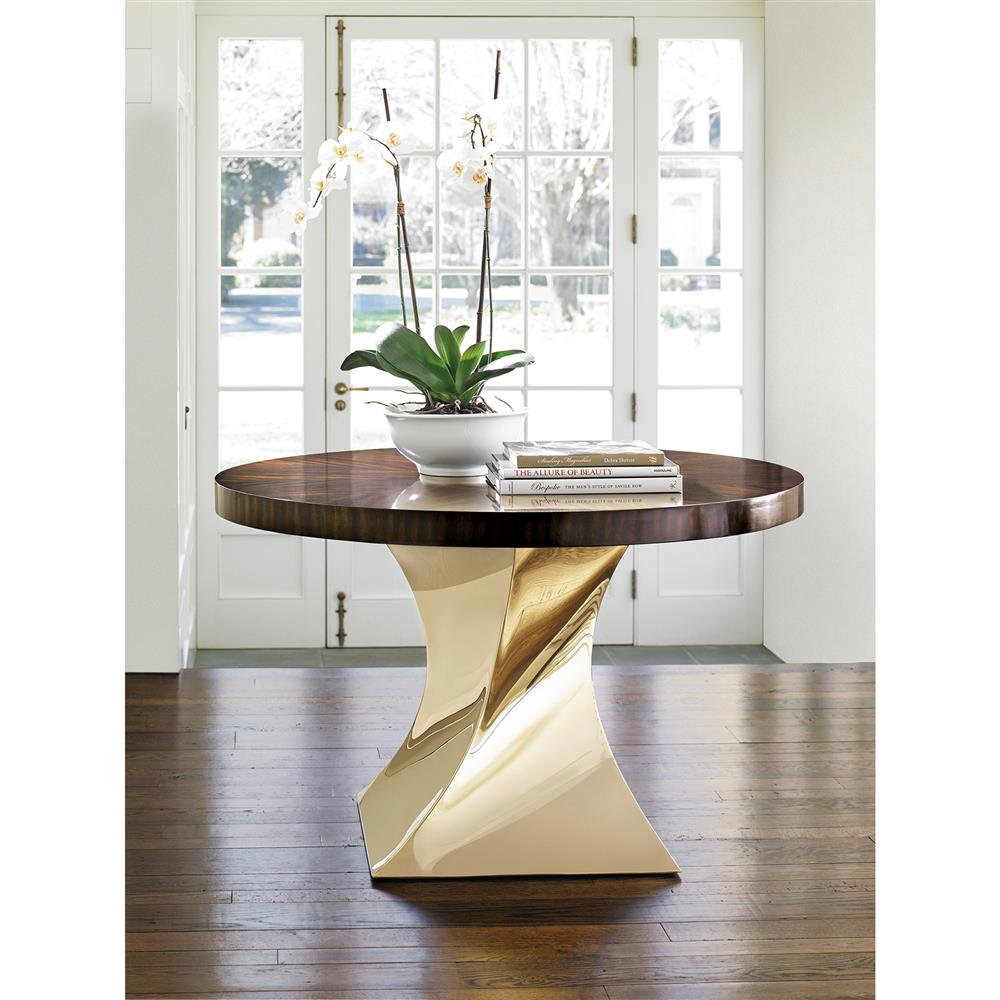 tallulah hollywood regency twisted stainless steel wood dining table. Black Bedroom Furniture Sets. Home Design Ideas