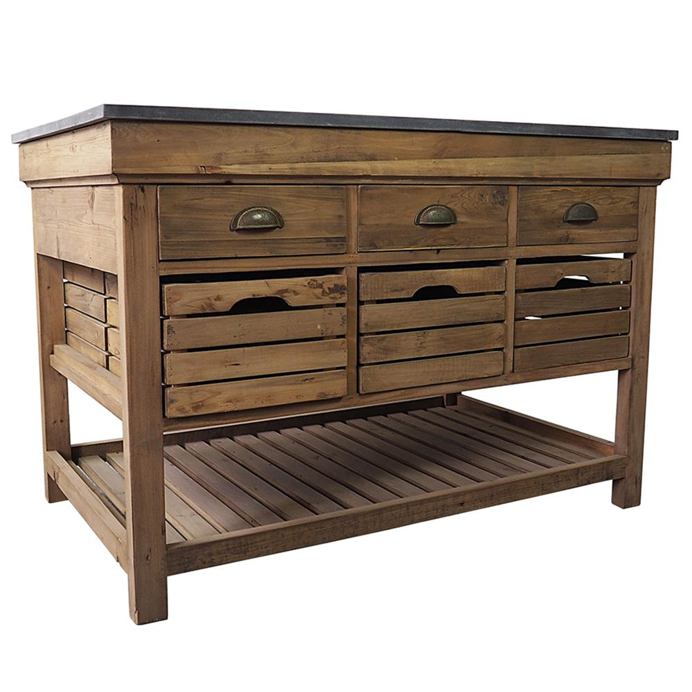 Avril French Country Marble Top Pine 6 Drawer Kitchen