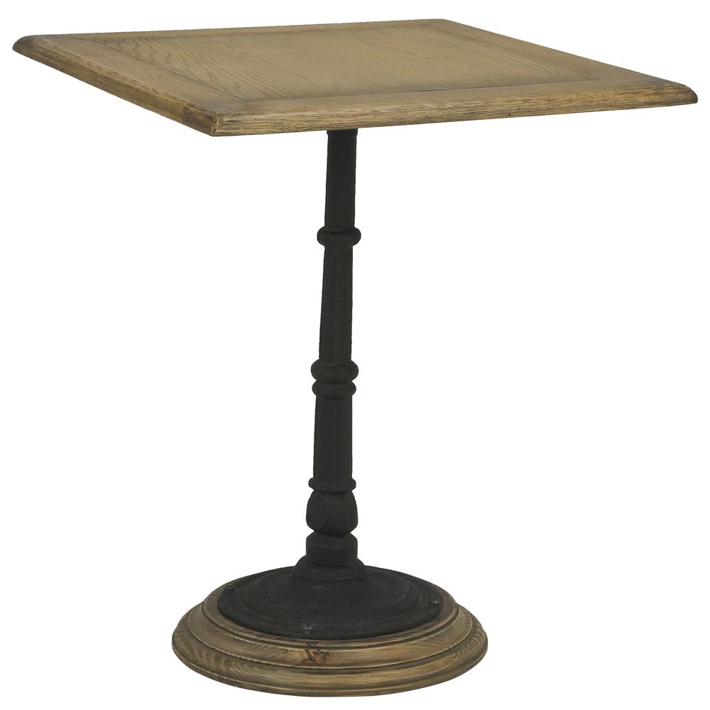 Bonheur french country white oak cast iron pedestal dining for Cast iron dining table