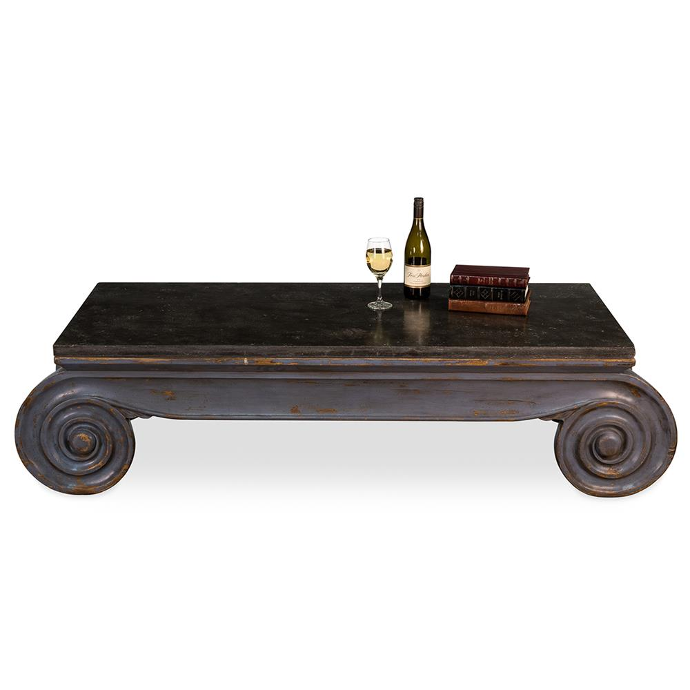 Hera modern classic bluewashed reclaimed pine black coffee for Low lying coffee table