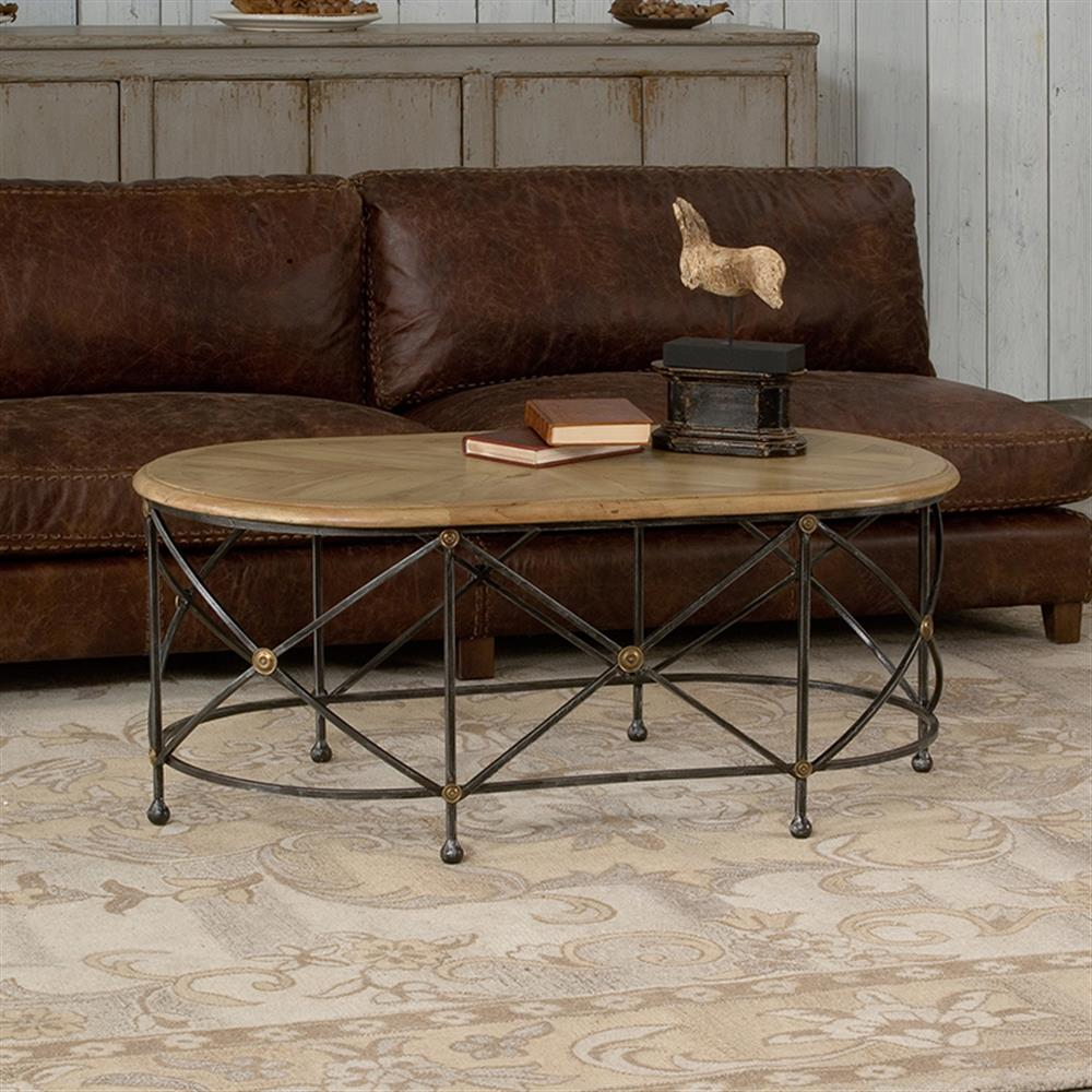 Rollins Industrial Loft Bronze Iron Coffee Table: Mindy Industrial Loft Parquet Iron Oval Coffee Table