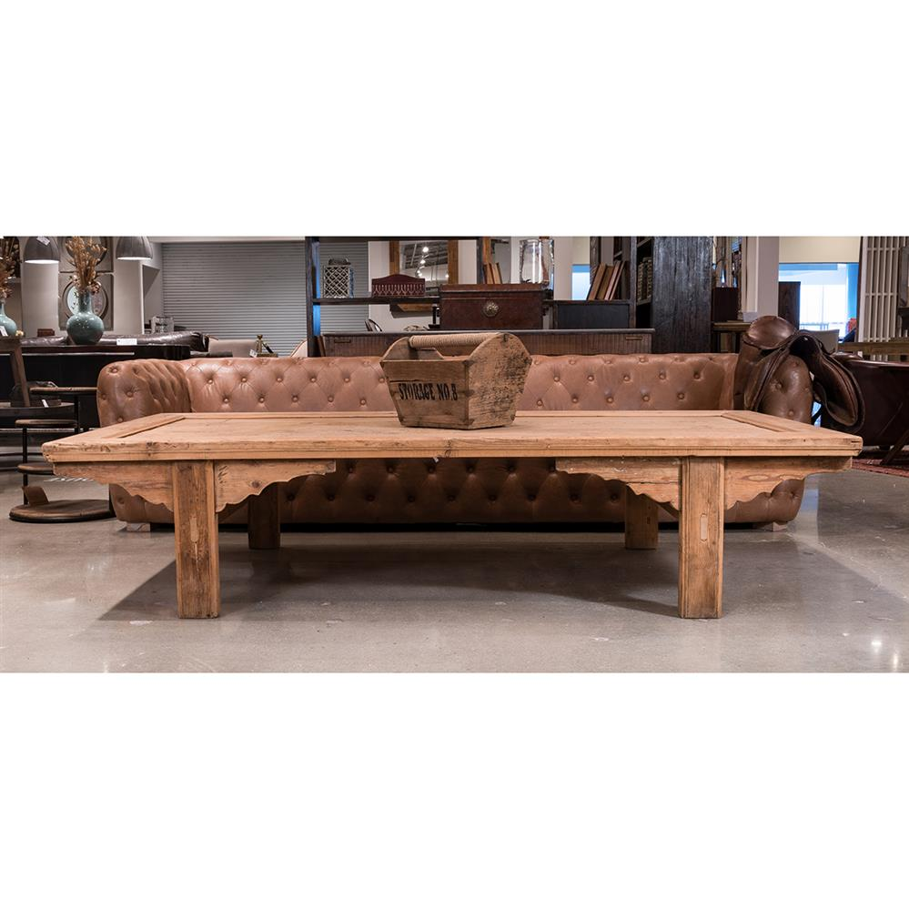 Davy Rustic Lodge Natural Pine Large Rectangular Coffee Table Kathy Kuo Home