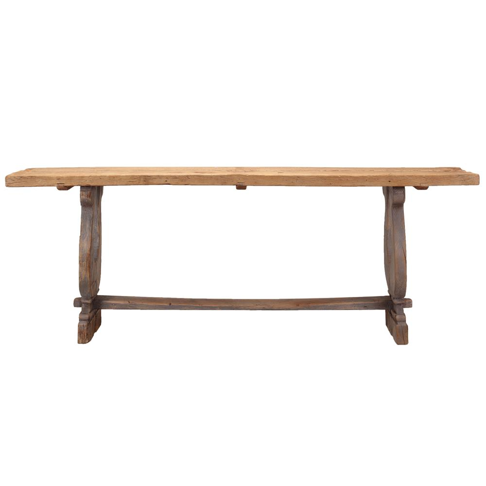 Calvin rustic lodge distressed pine console table kathy kuo home view full size geotapseo Gallery