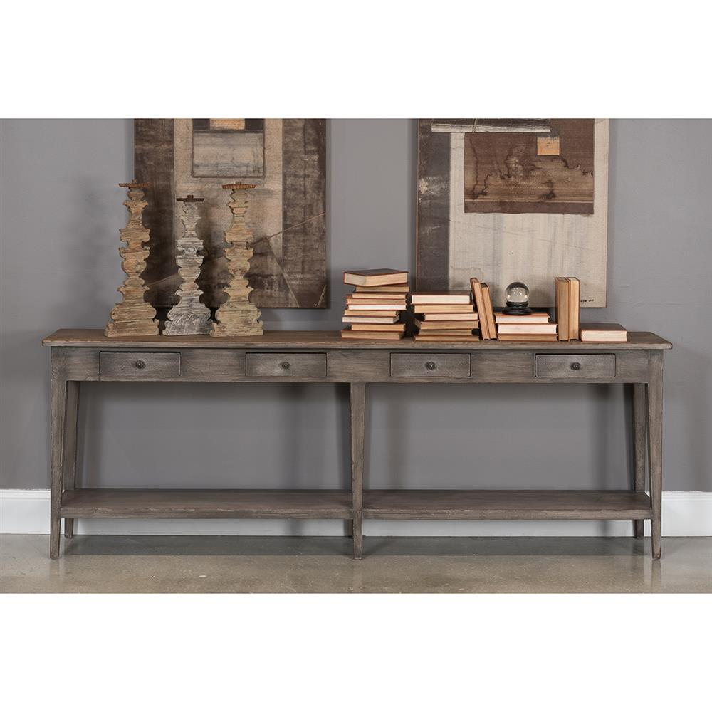 Provencale Rustic Lodge 4 Drawer Pine Console Table