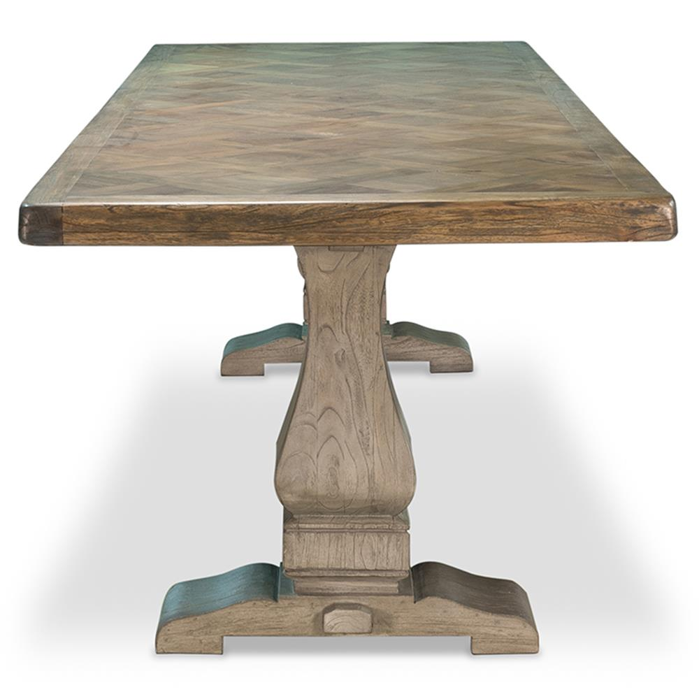 ... Friso White Cedar Wood French Country Reclaimed Teak Top Dining Table |  Kathy Kuo Home ...