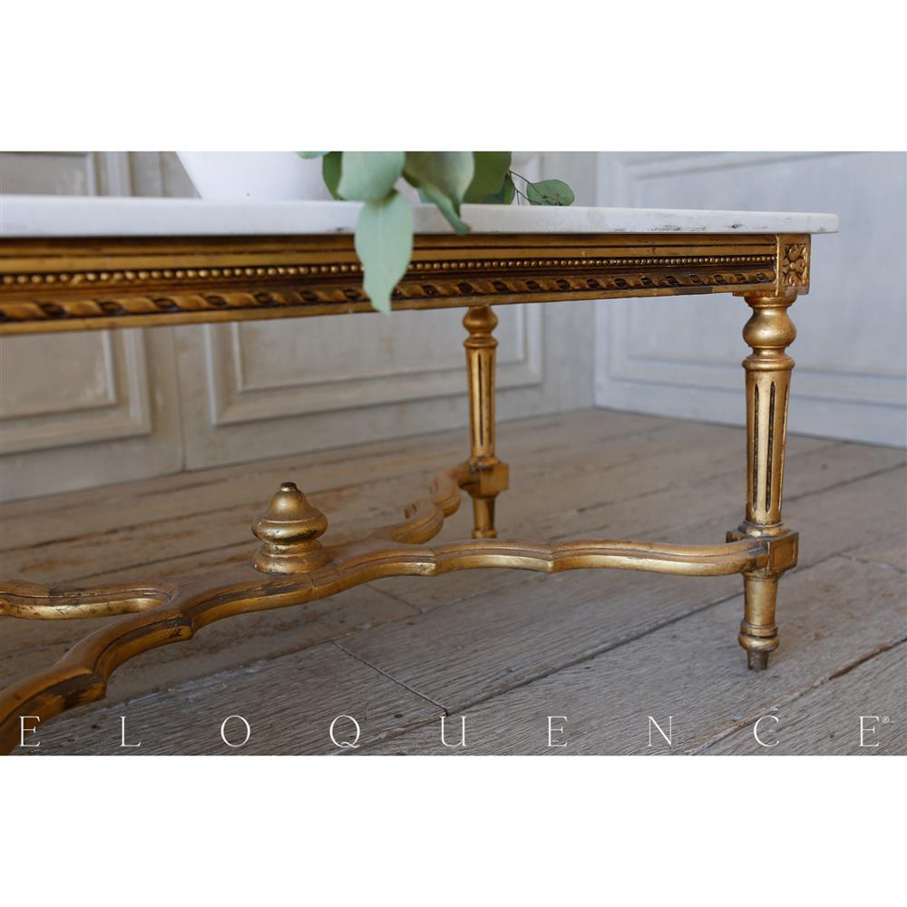 French Country Style Eloquence Vintage Coffee Table With Marble Top 1940 Kathy Kuo Home