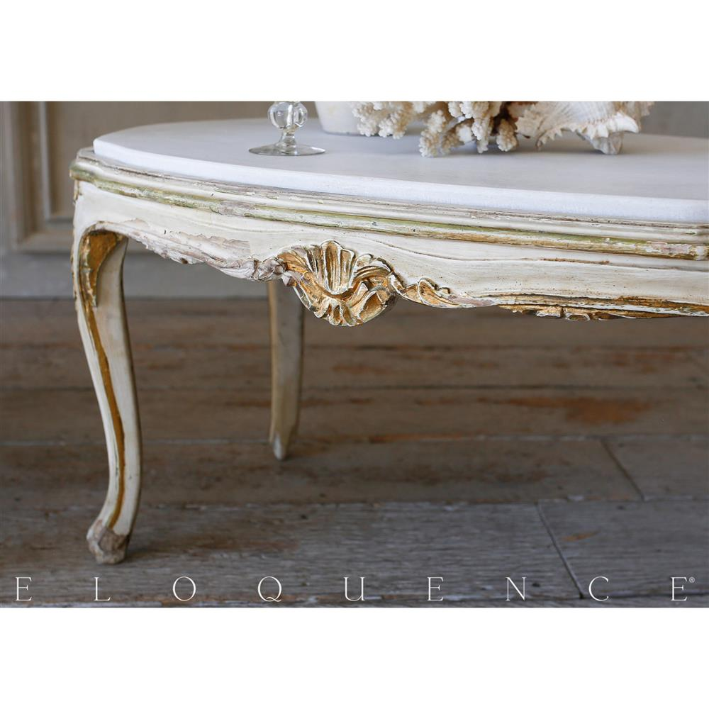 french country style eloquence vintage coffee table with marble top 1940. Black Bedroom Furniture Sets. Home Design Ideas