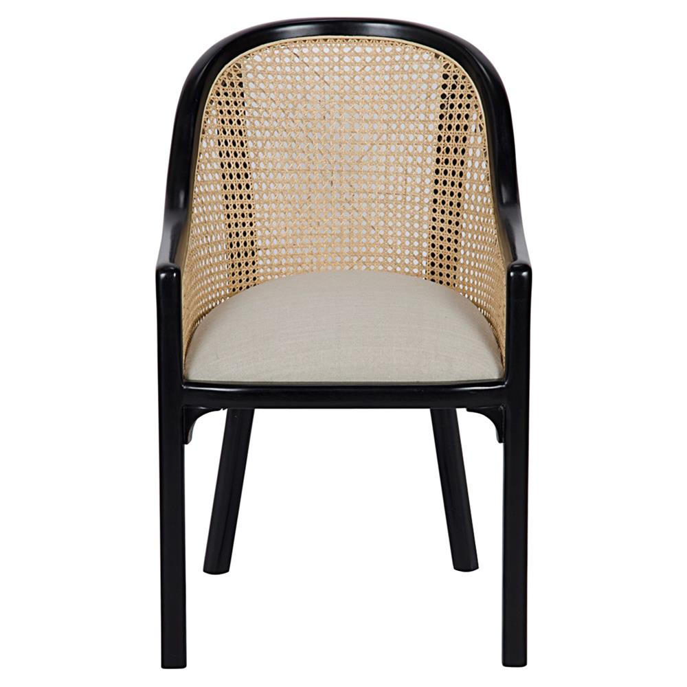 Lizzette French Country Black Mahogany Linen Upholstered Dining Chair |  Kathy Kuo Home · View Full Size ...