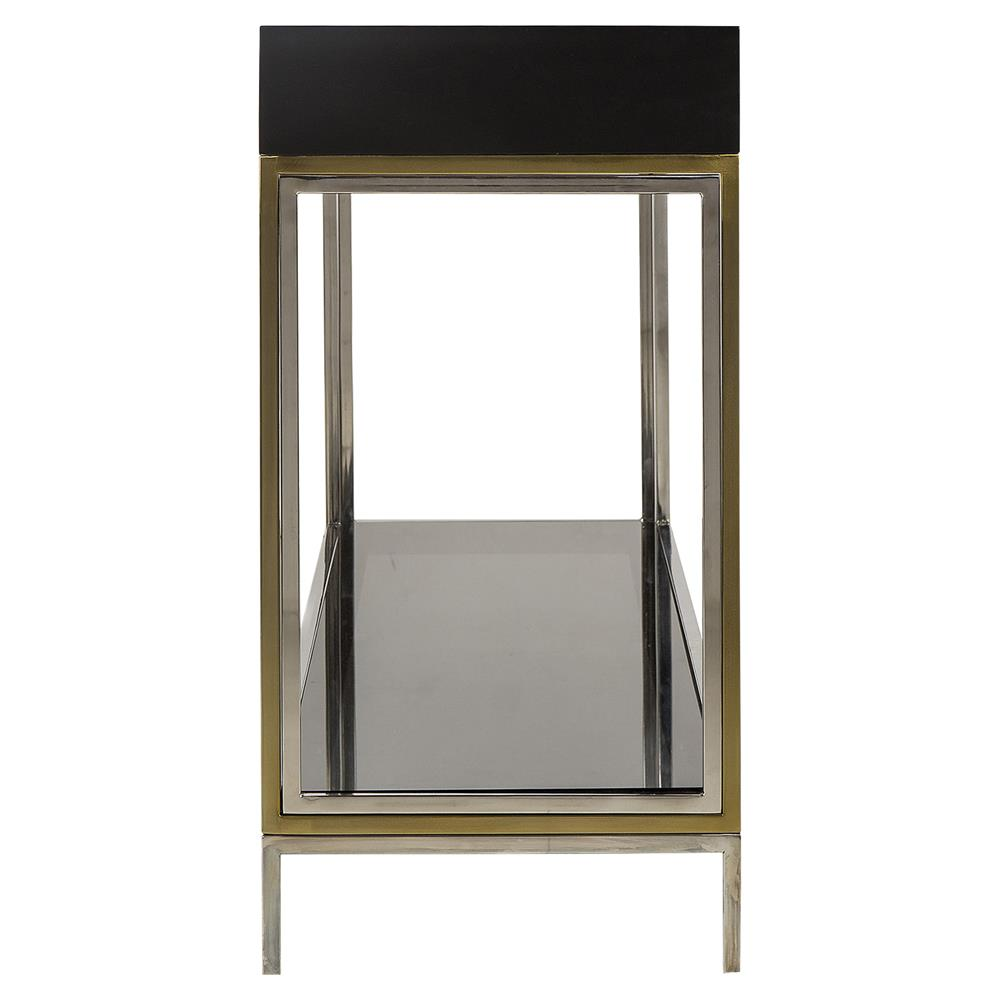 Harley modern classic brass finished smoked glass for Modern classic table