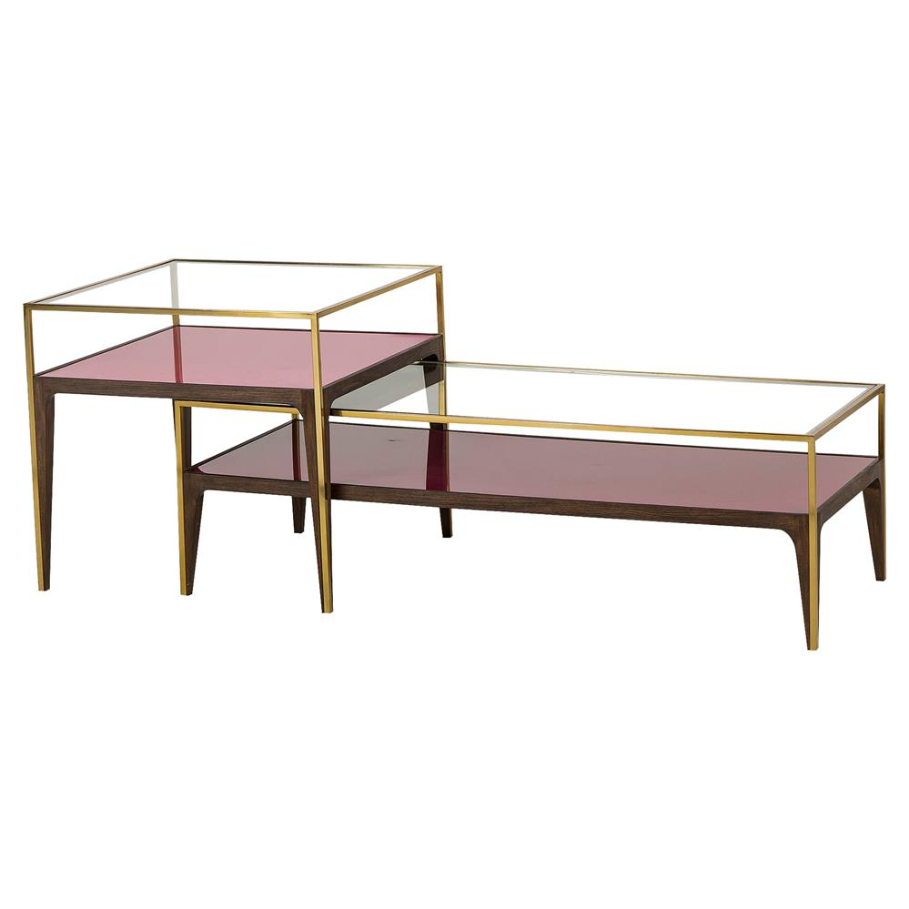 Resource decor rubylite modern classic gold trim pink Glass coffee table decor