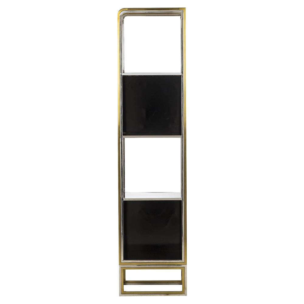 theo hollywood regency black mixed metal etagere bookcase. Black Bedroom Furniture Sets. Home Design Ideas