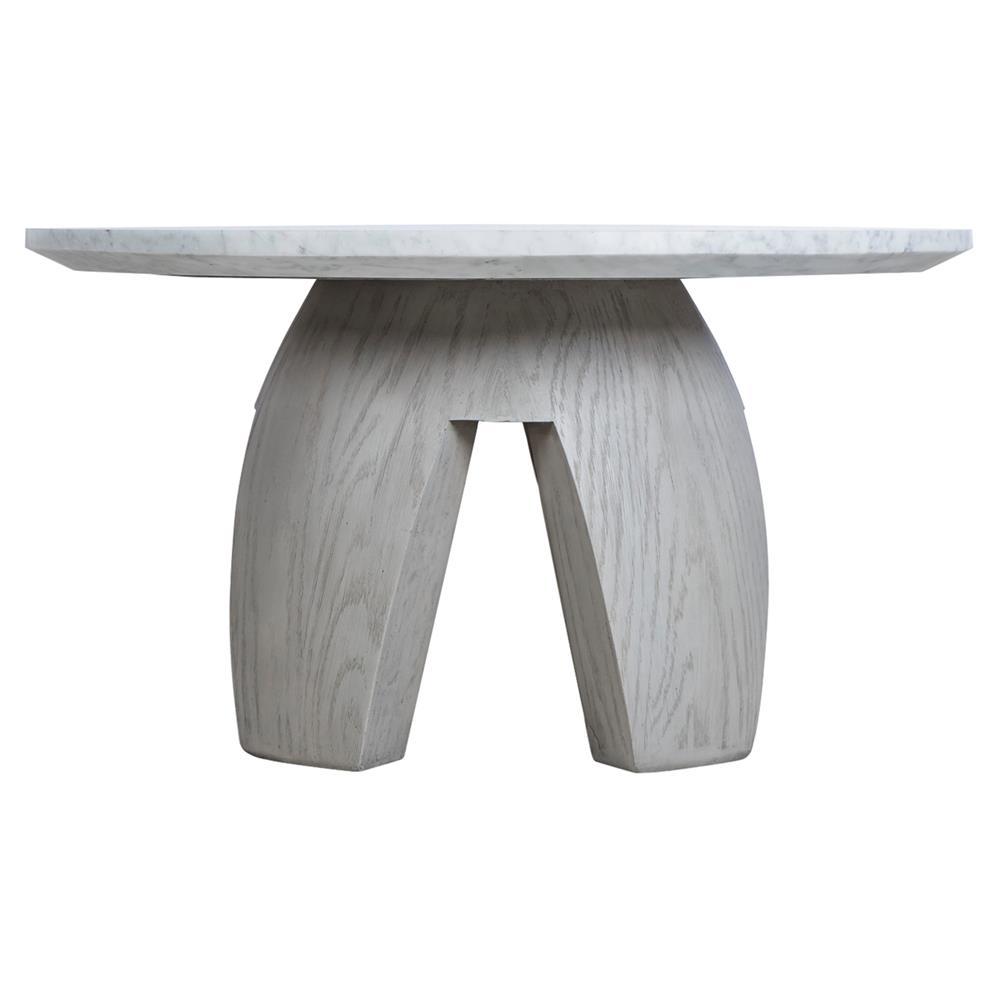 Kelly Hoppen Gray Modern Classic Grey Oak Marble Top Round