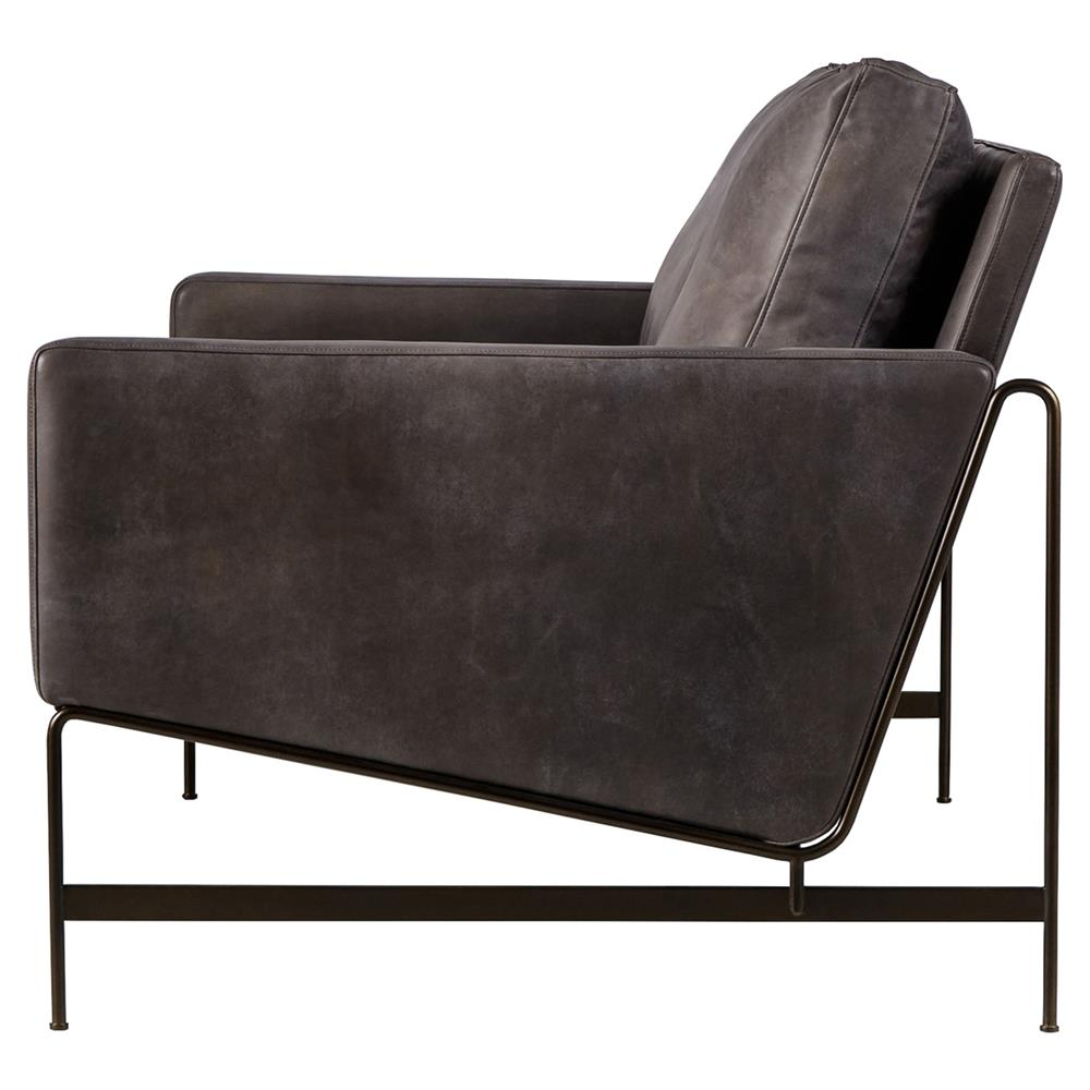 Vallery Industrial Distressed Black Leather Loveseat Kathy Kuo Home