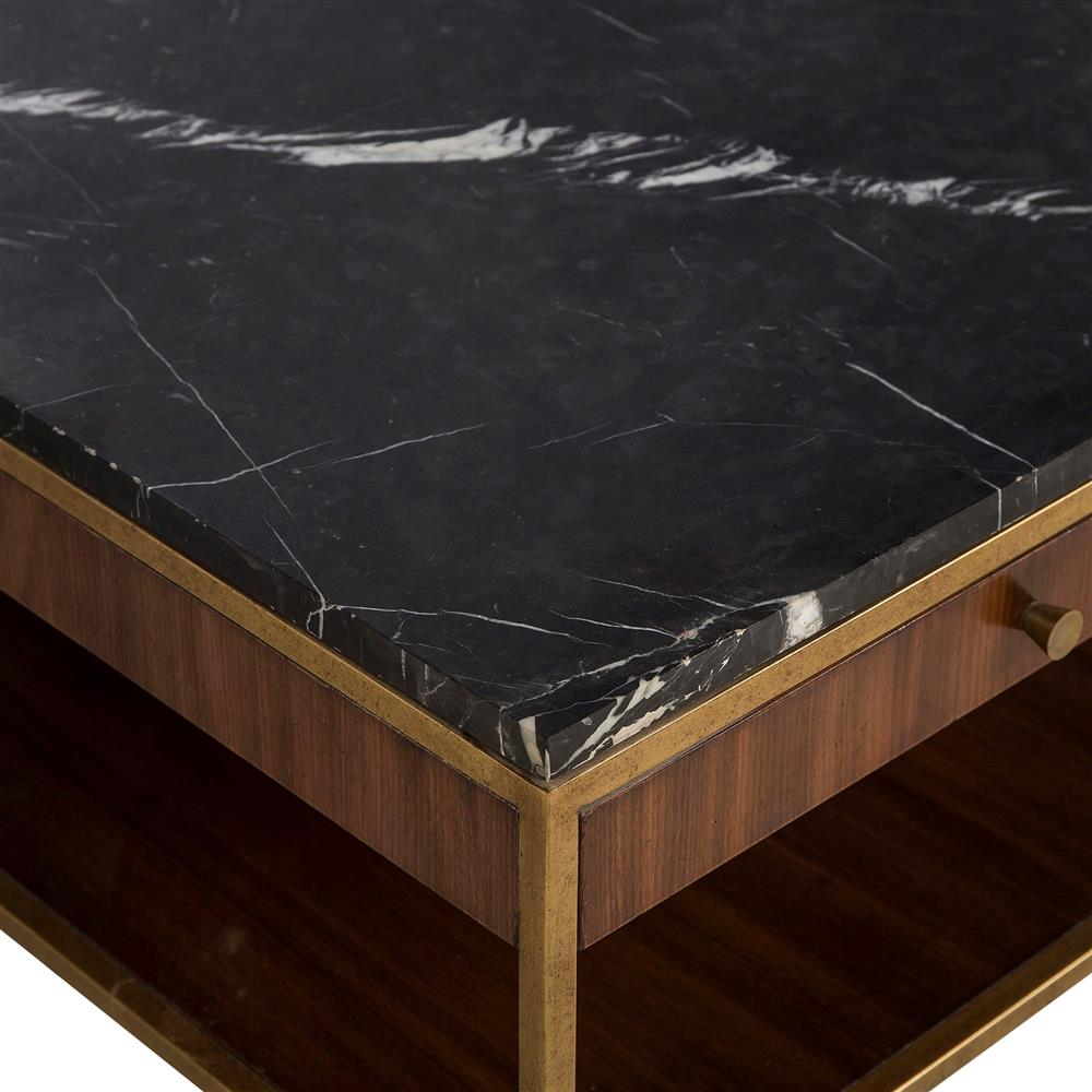 Gold Coffee Table With Stone Top: Maison 55 Copeland Mid Century Walnut Gold Trim Marble Top