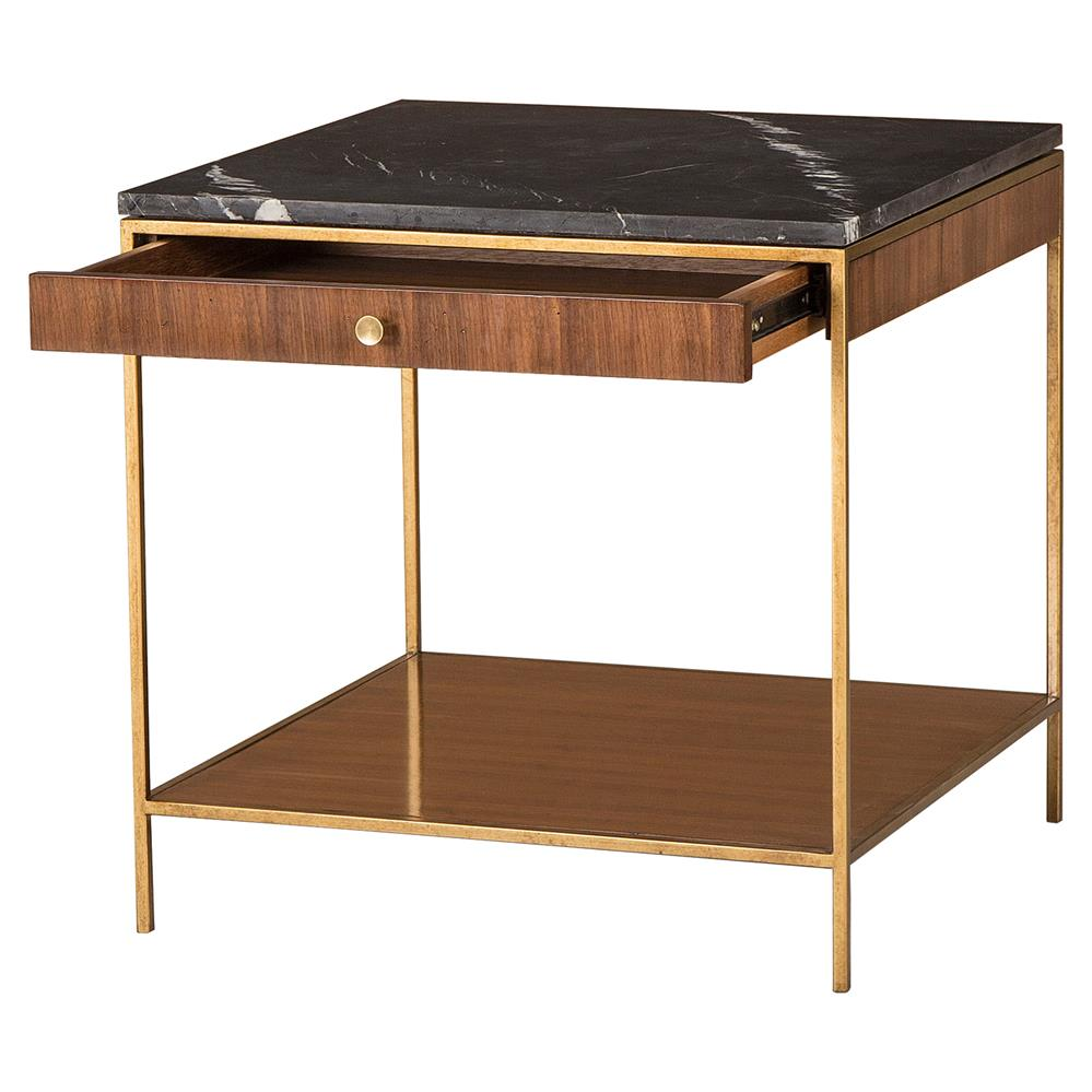 Celia modern walnut gold trim marble top large square side for Square side table