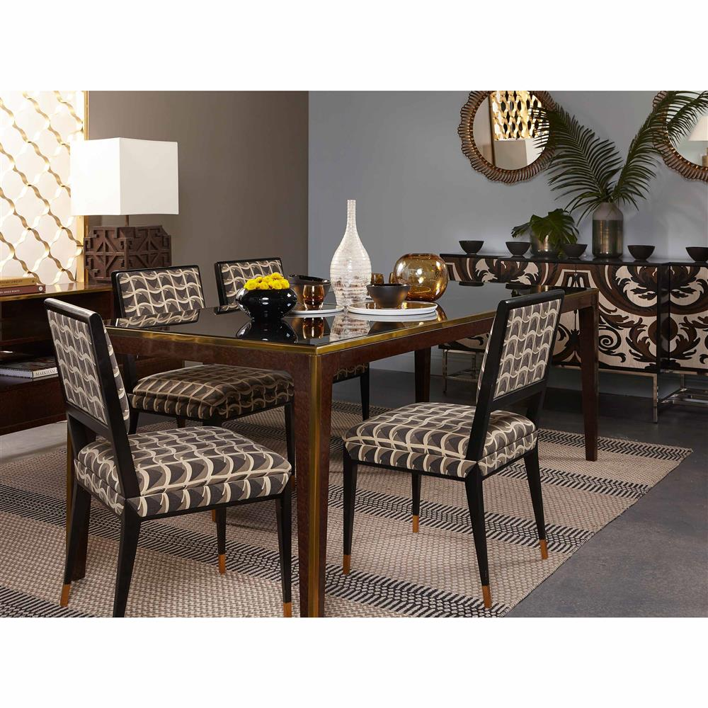 Saldana Modern Classic Gold Trim Smoked Glass Dining Table | Kathy Kuo Home