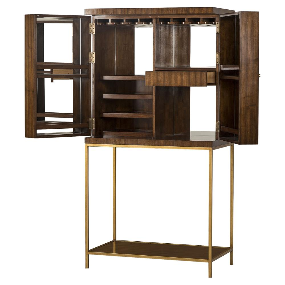 Celia Modern Walnut Gold Trim Bar Cabinet Kathy Kuo Home