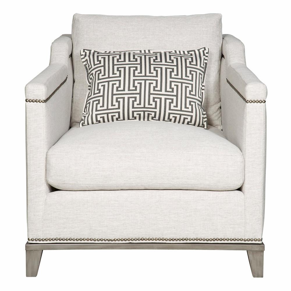 Carroll Modern Classic Nailhead Trim Ivory Linen Accent Club Chair
