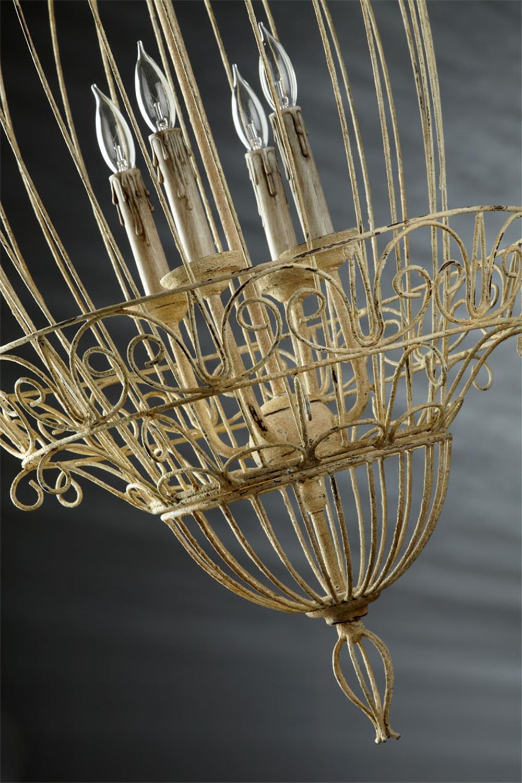 Foyer Caged Chandelier : Vintage foyer antique white bird cage light chandelier