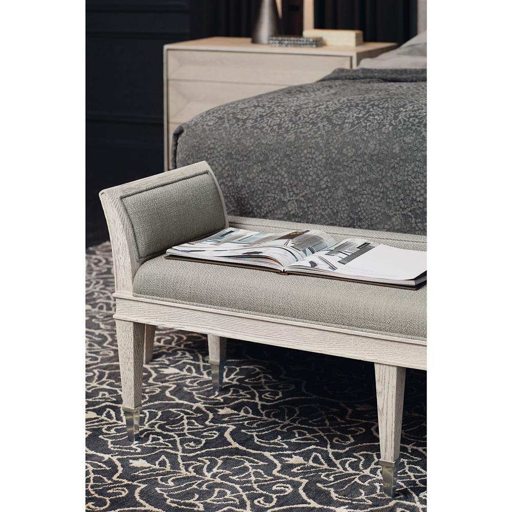 Hayley Hollywood Regency Dove White Upholstered Bench