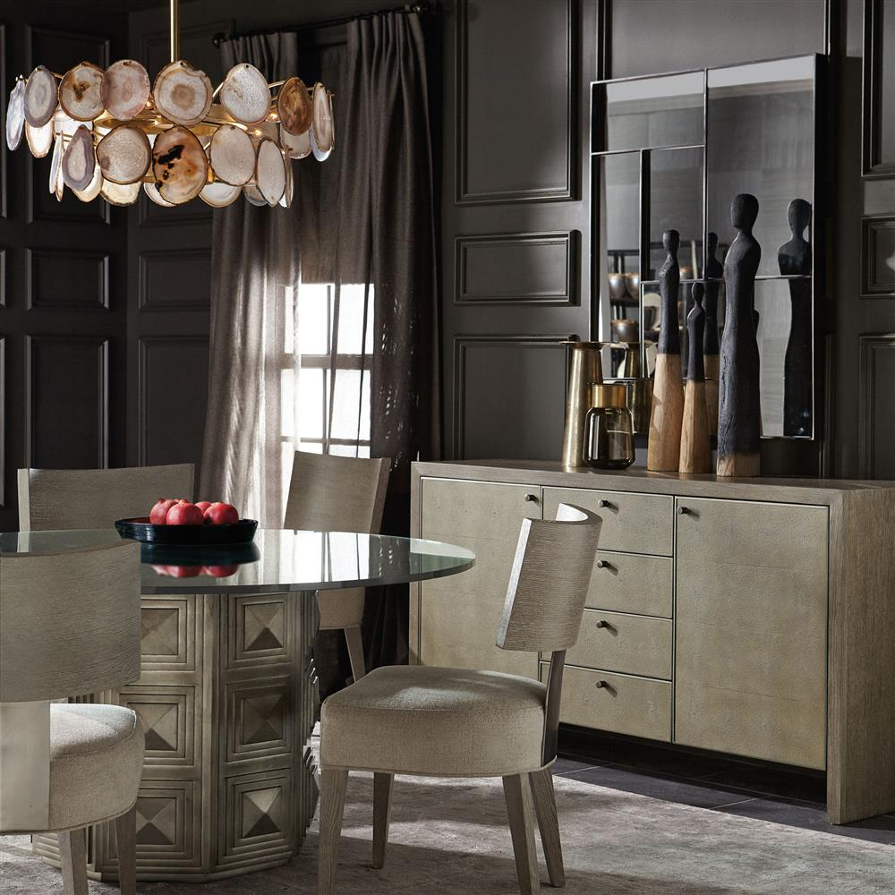 gwyneth hollywood regency round clear glass top dining table kathy kuo home. Black Bedroom Furniture Sets. Home Design Ideas