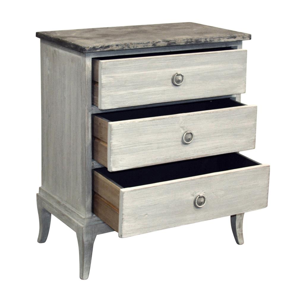 Violette french country stone top 3 drawer nightstand French country stone