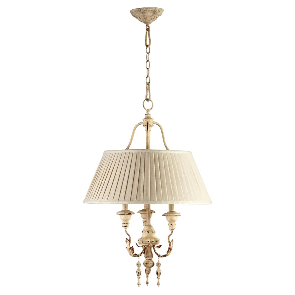 Maison French Country Antique White 3 Light Chandelier