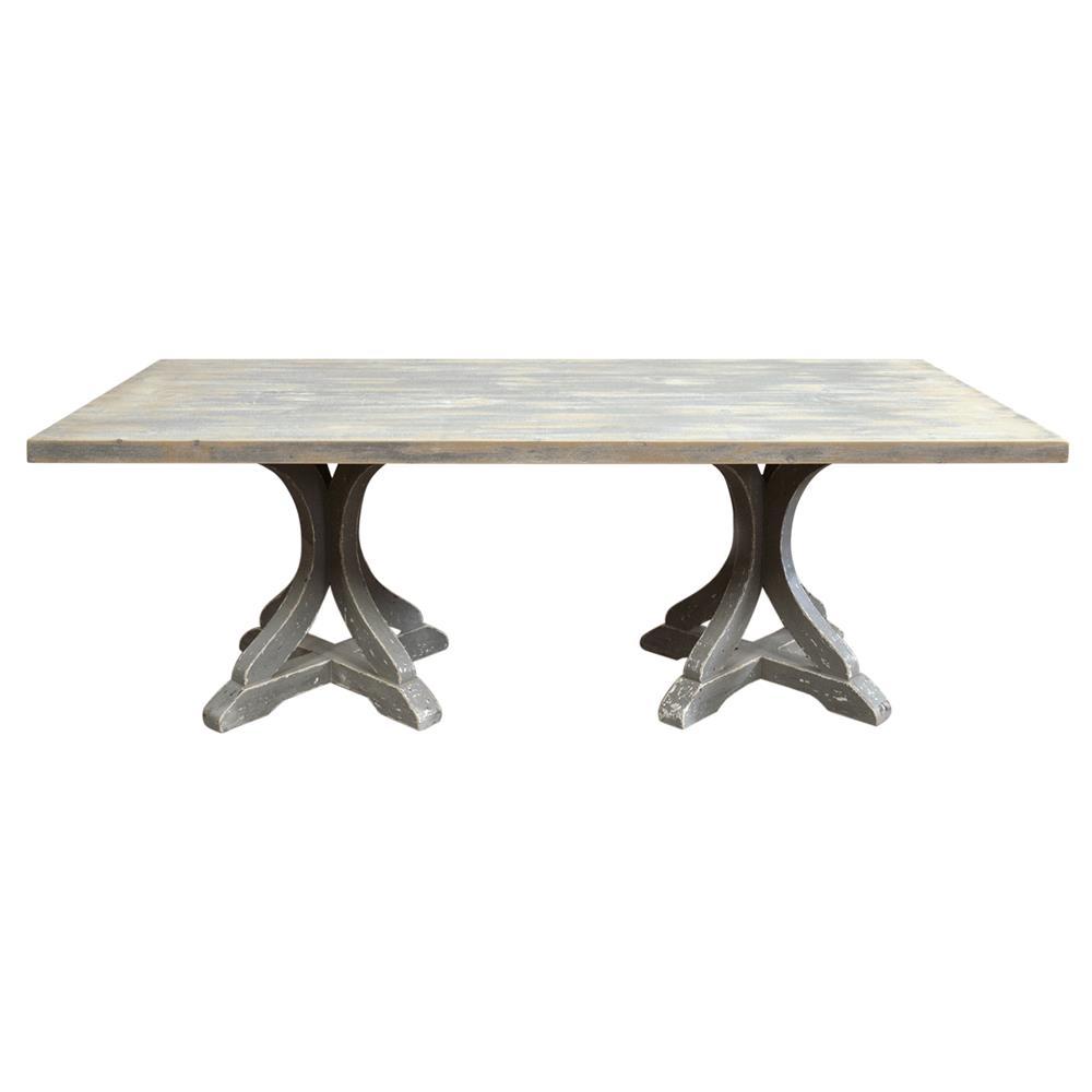 Rivoli french country rectangular double pedestal dining table - Pedestal dining table rectangular ...