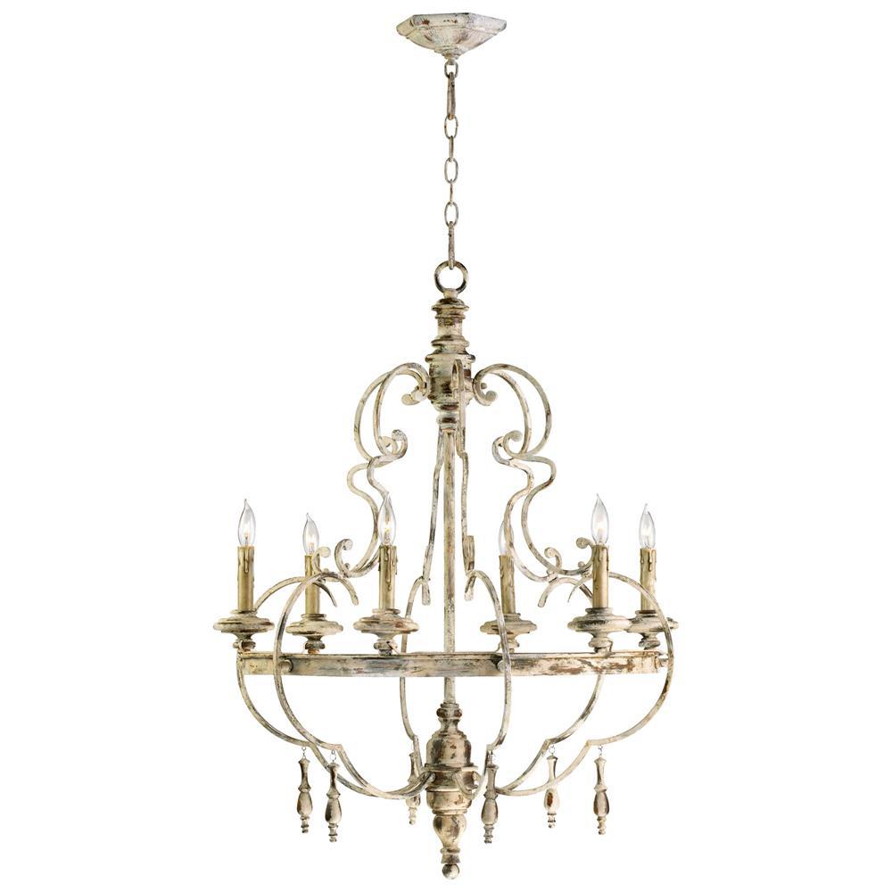 Da Vinci 6 Light French Country Antique Ivory Chandelier Kathy Kuo Home View Full Size