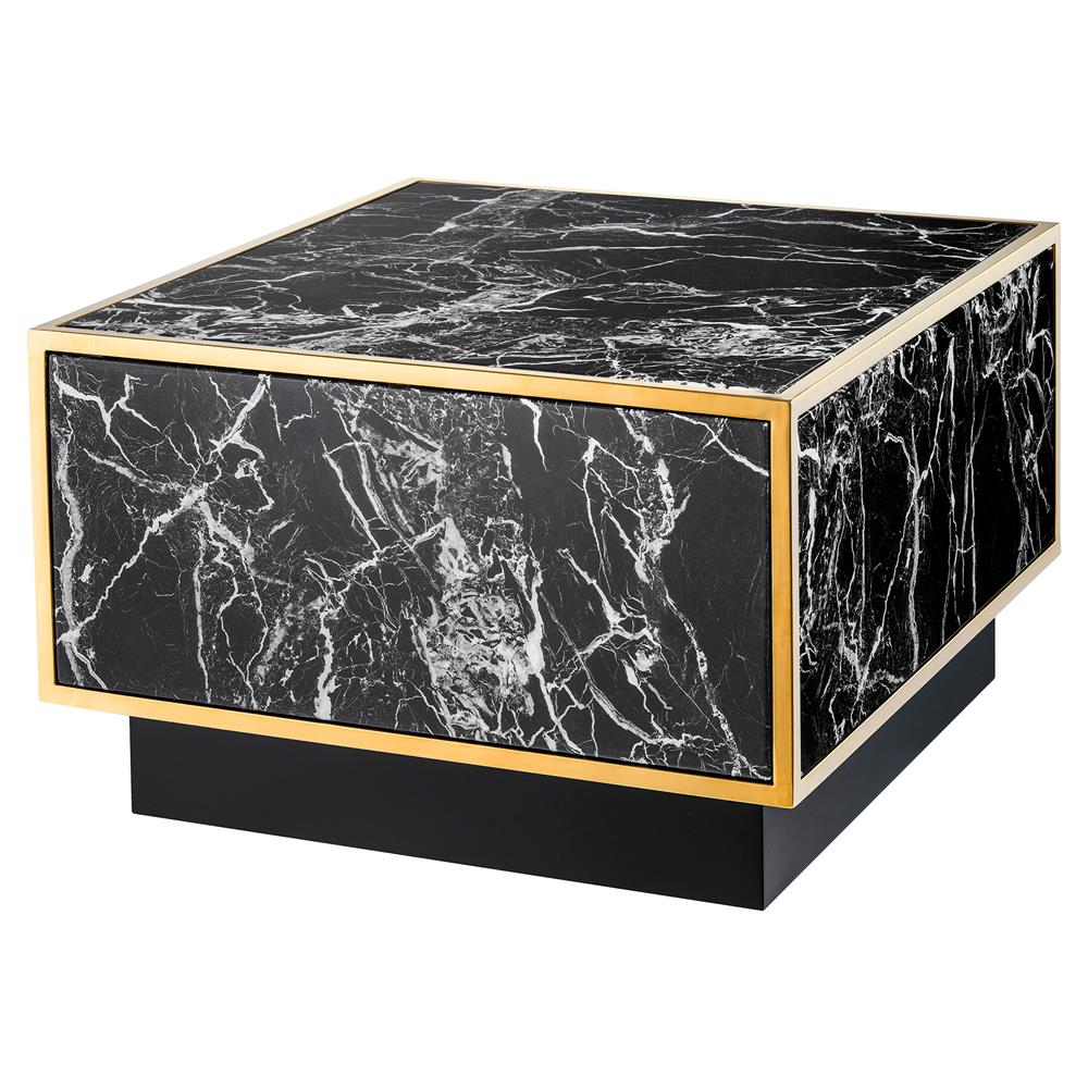 Rectangle Faux Marble Coffee Table: Eichholtz Concordia Hollywood Regency Black Faux Marble