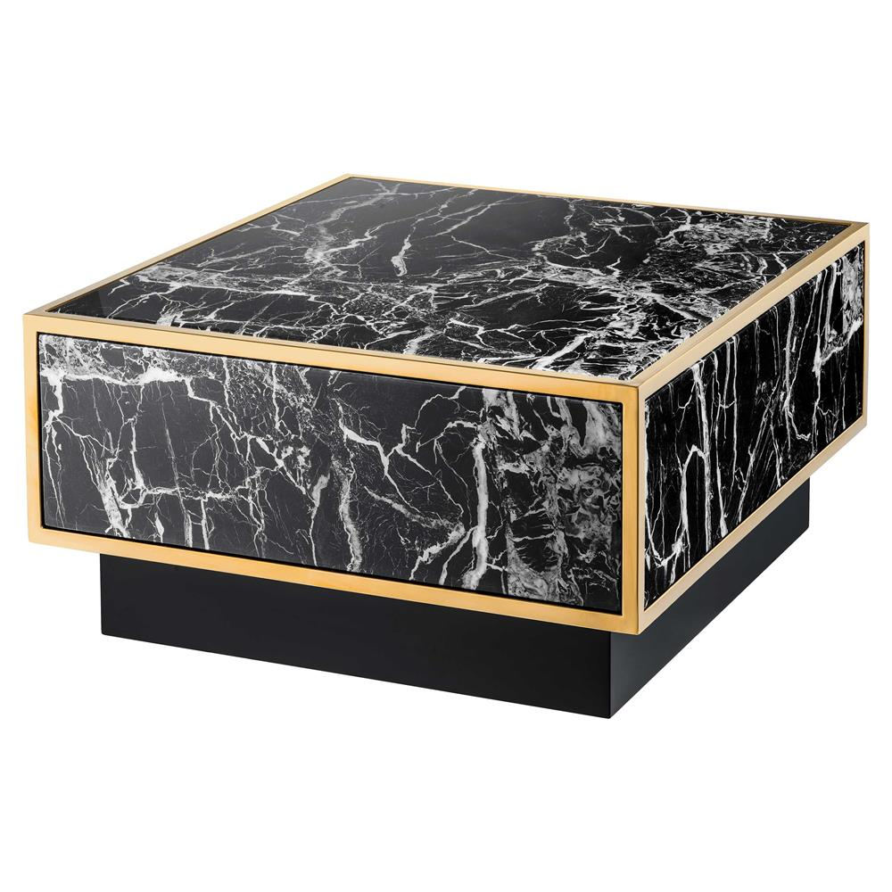 Eichholtz Concordia Hollywood Regency Black Faux Marble Square Coffee Table Kathy Kuo Home