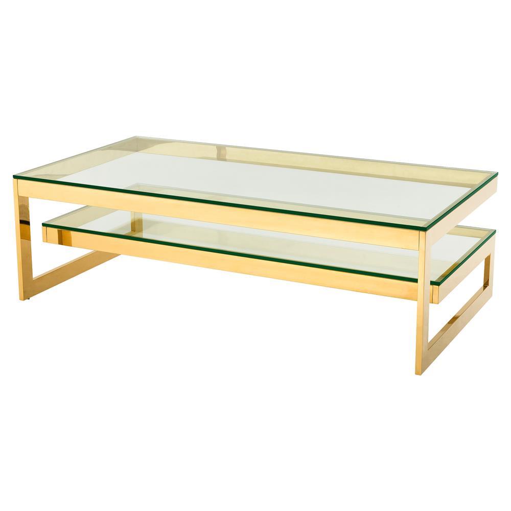 eichholtz gamma modern classic rectangular 2 tier glass gold coffee table. Black Bedroom Furniture Sets. Home Design Ideas