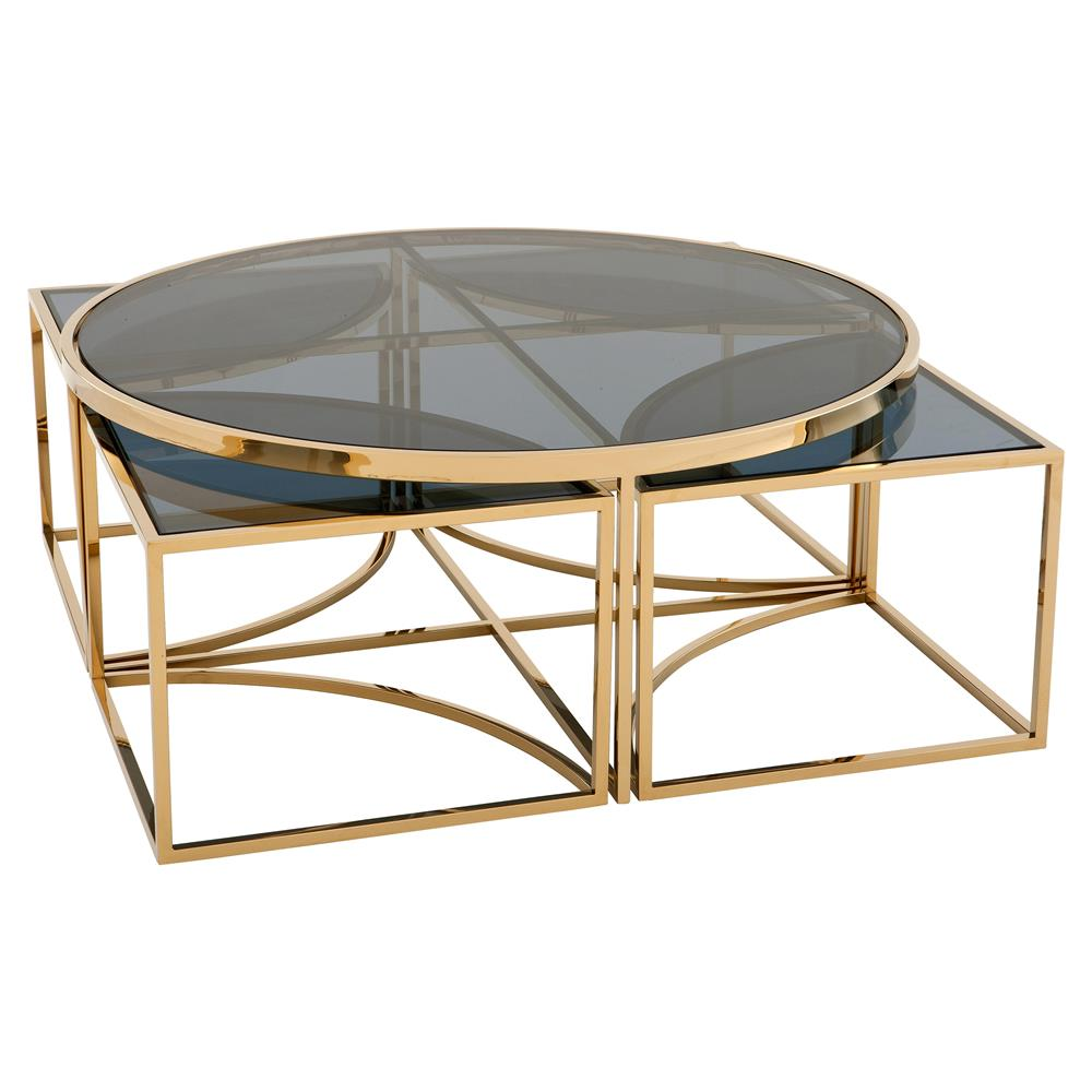 Eichholtz padova modern classic smoked glass round nesting for Glass nesting coffee tables