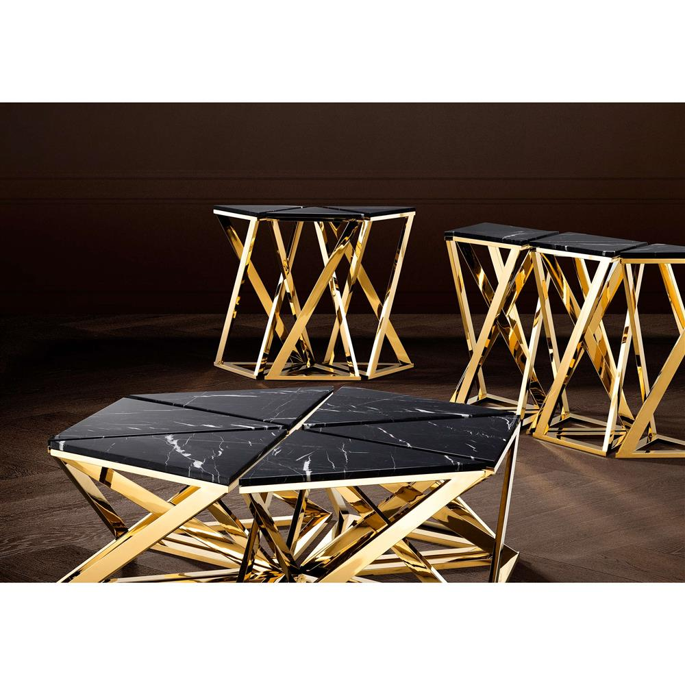 ... Eichholtz Galaxy Modern Classic Black Marble Gold Console Table   Set  Of 3 | Kathy Kuo