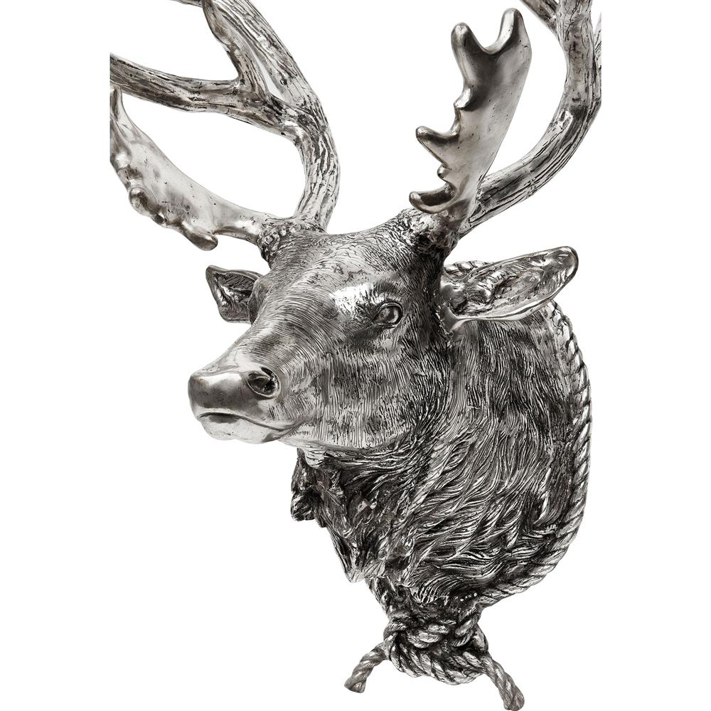 Eichholtz deer head lodge rustic wall mounted antique silver sculpture kathy kuo home - Silver stag head wall mount ...