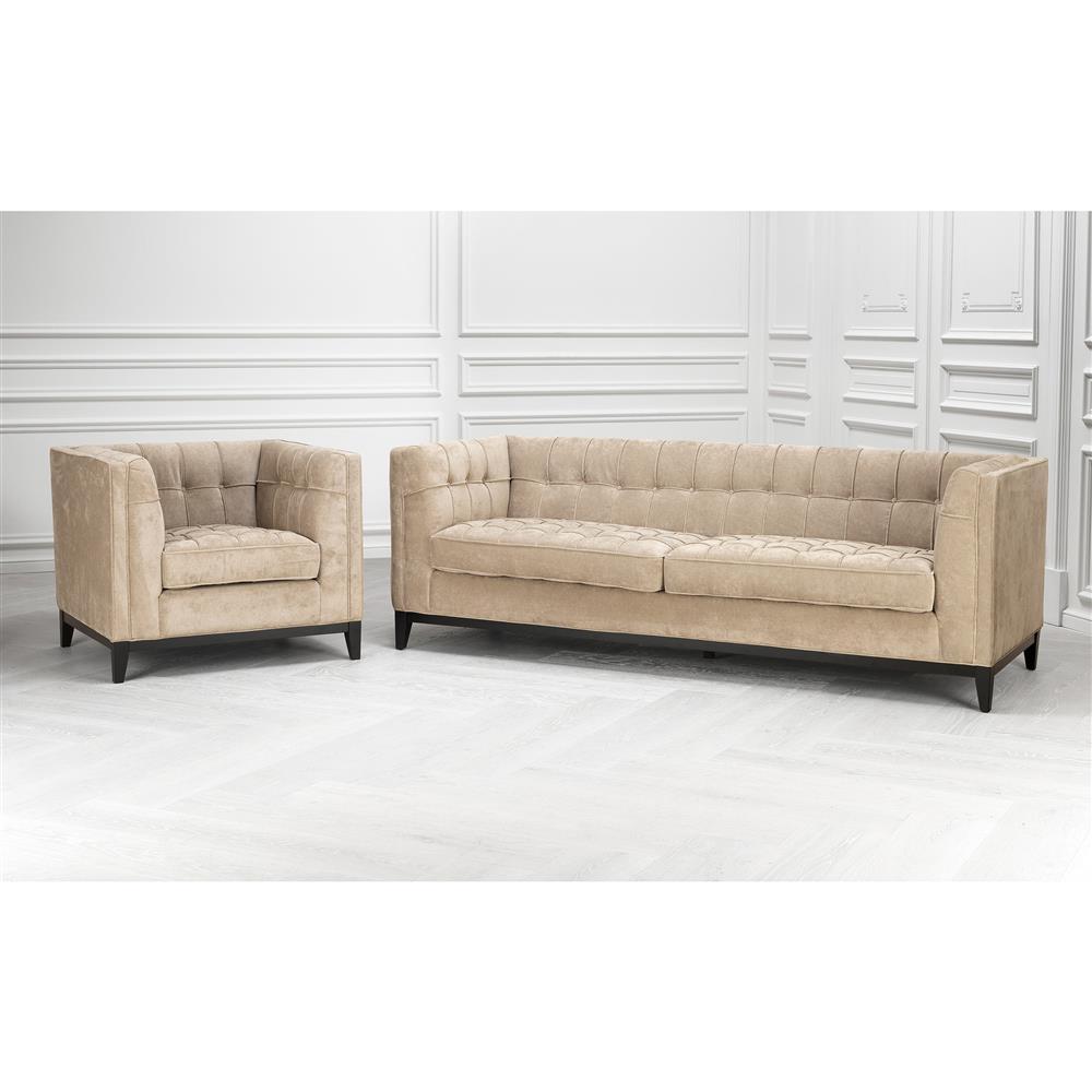 Eichholtz Aldgate Modern Classic Greige Velvet Modular Sofa