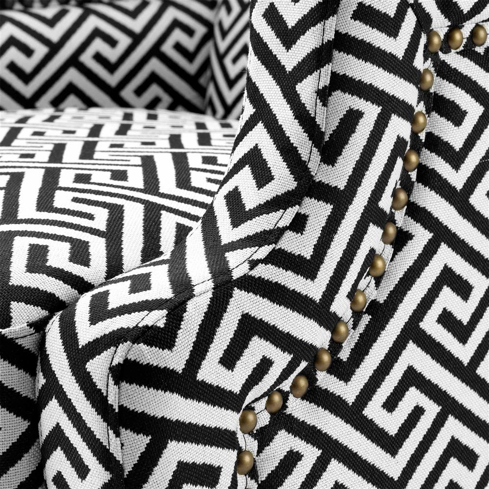 Black And White Greek Key Accent Chair: Eichholtz Eleventy Modern Black White Greek Key Patterned