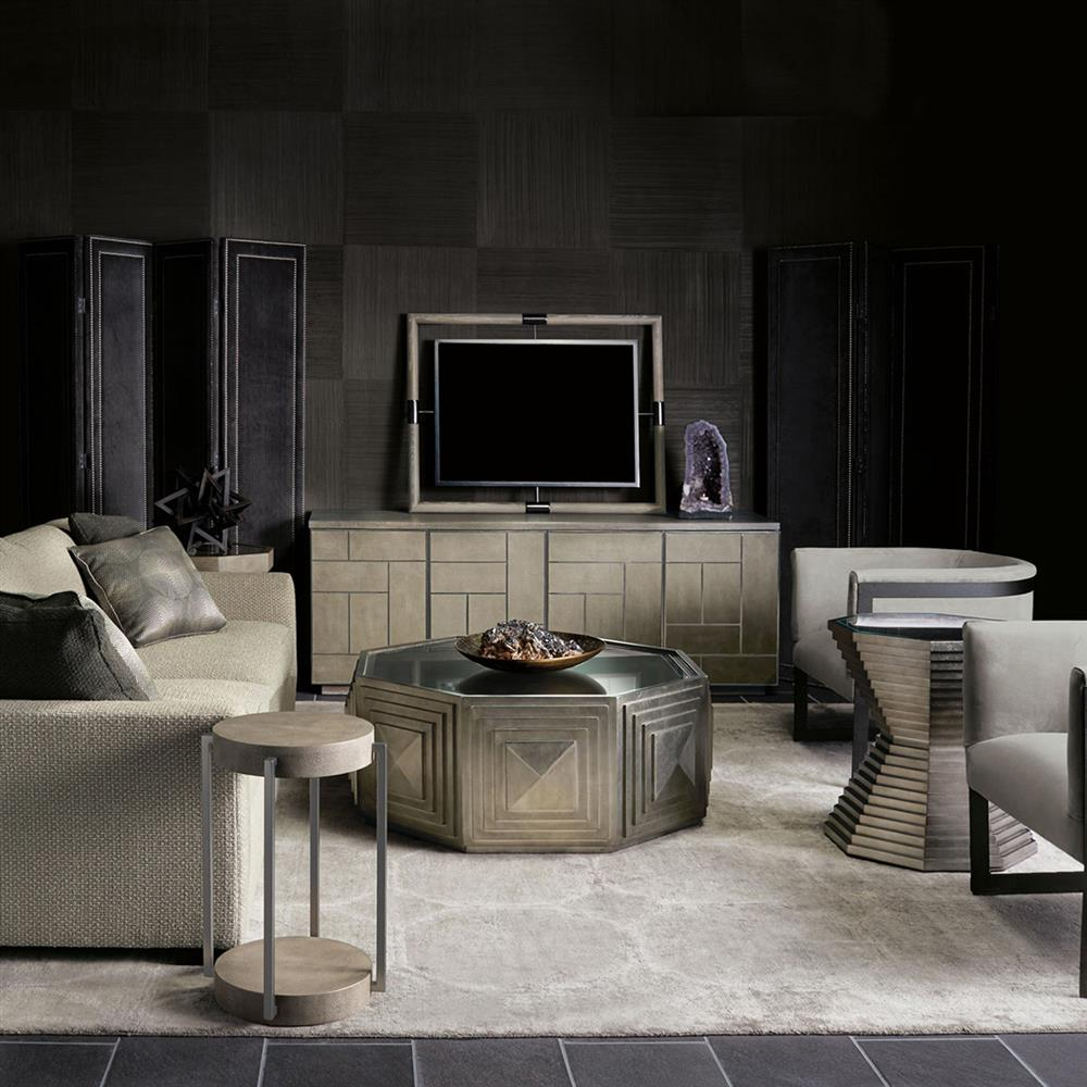 Gwyneth modern classic white oak dark taupe media cabinet for Classic taupe living room