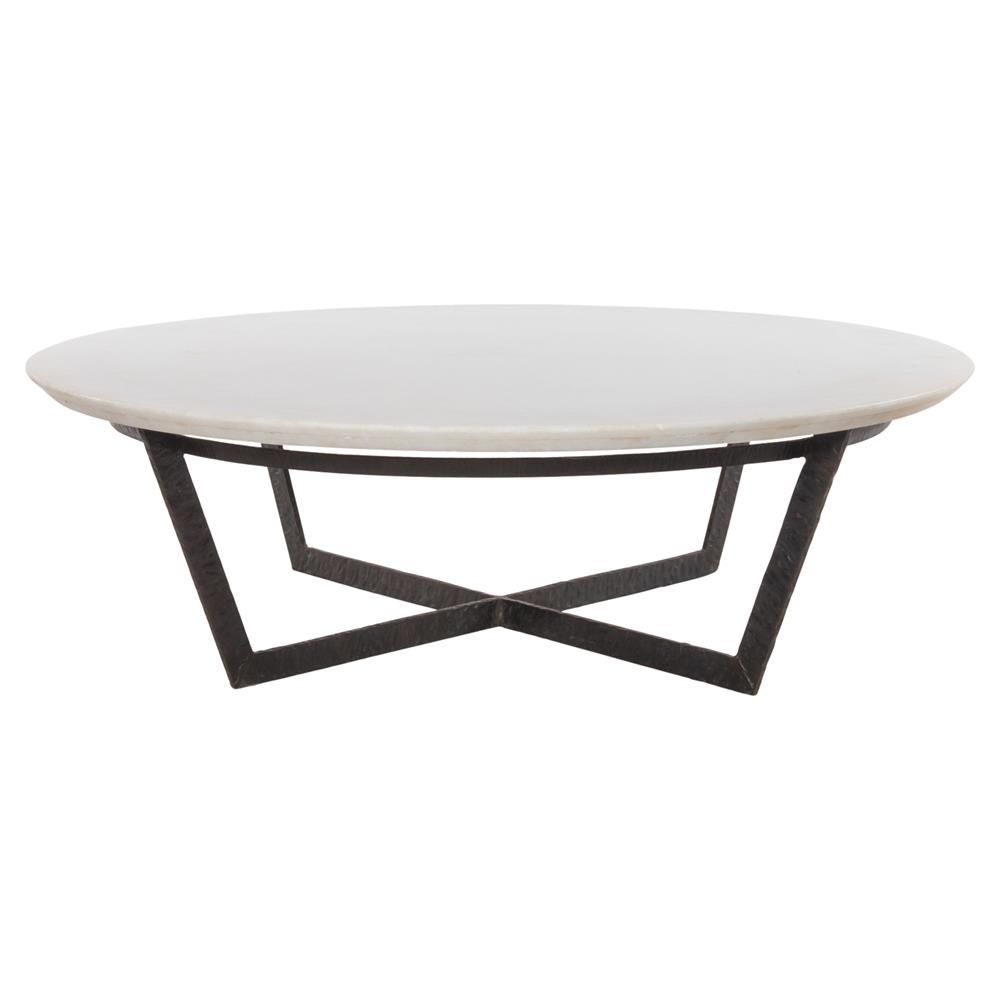 Mathers Industrial Loft White Marble Round Iron Coffee Table Kathy Kuo Home