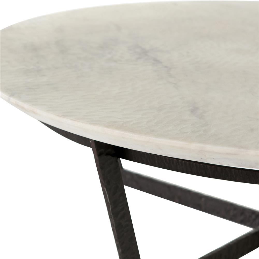 Marble Coffee Table Industrial: Mathers Industrial Loft White Marble Round Iron Coffee