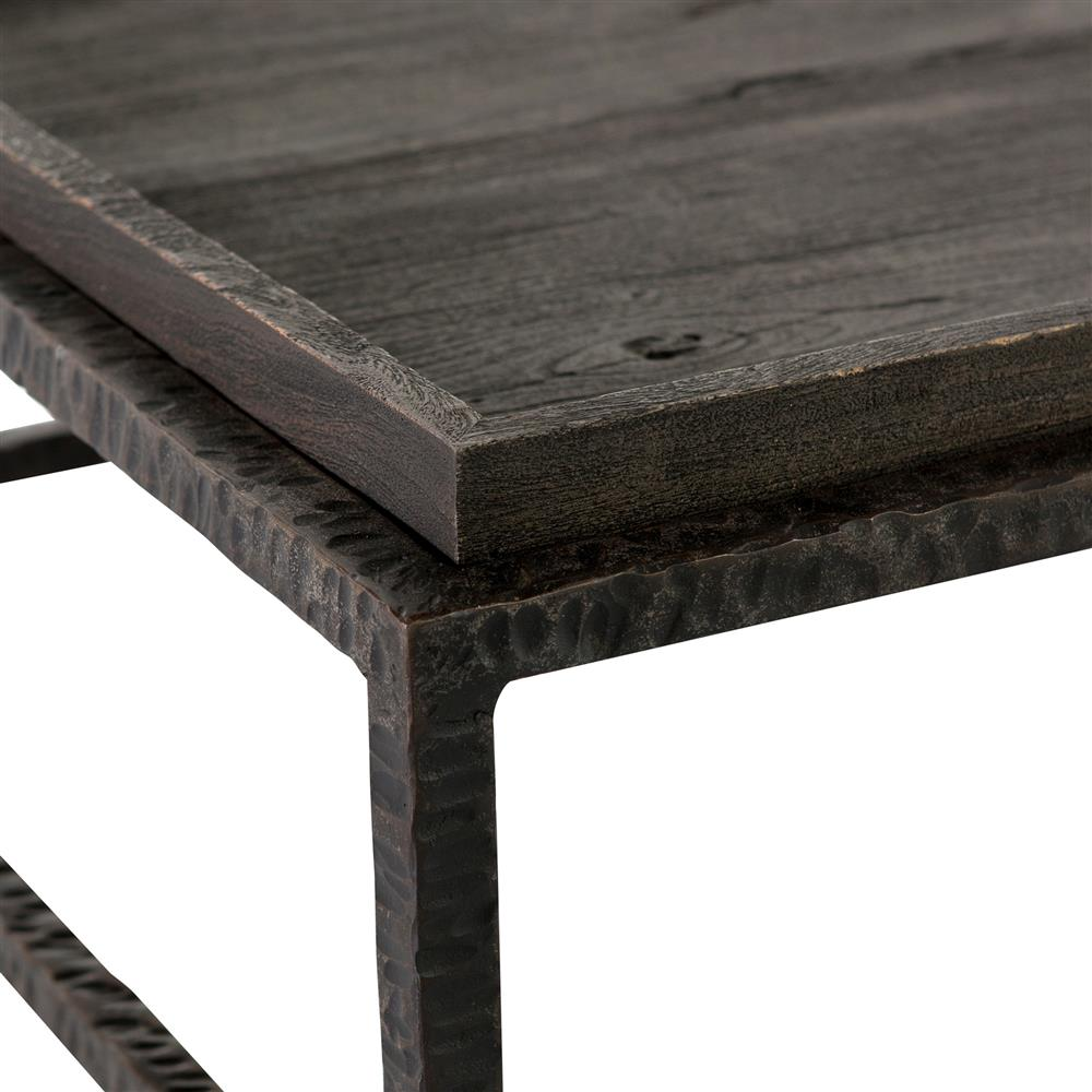 Bonner industrial loft dark grey wood square iron bunching for Gray wood and metal coffee table
