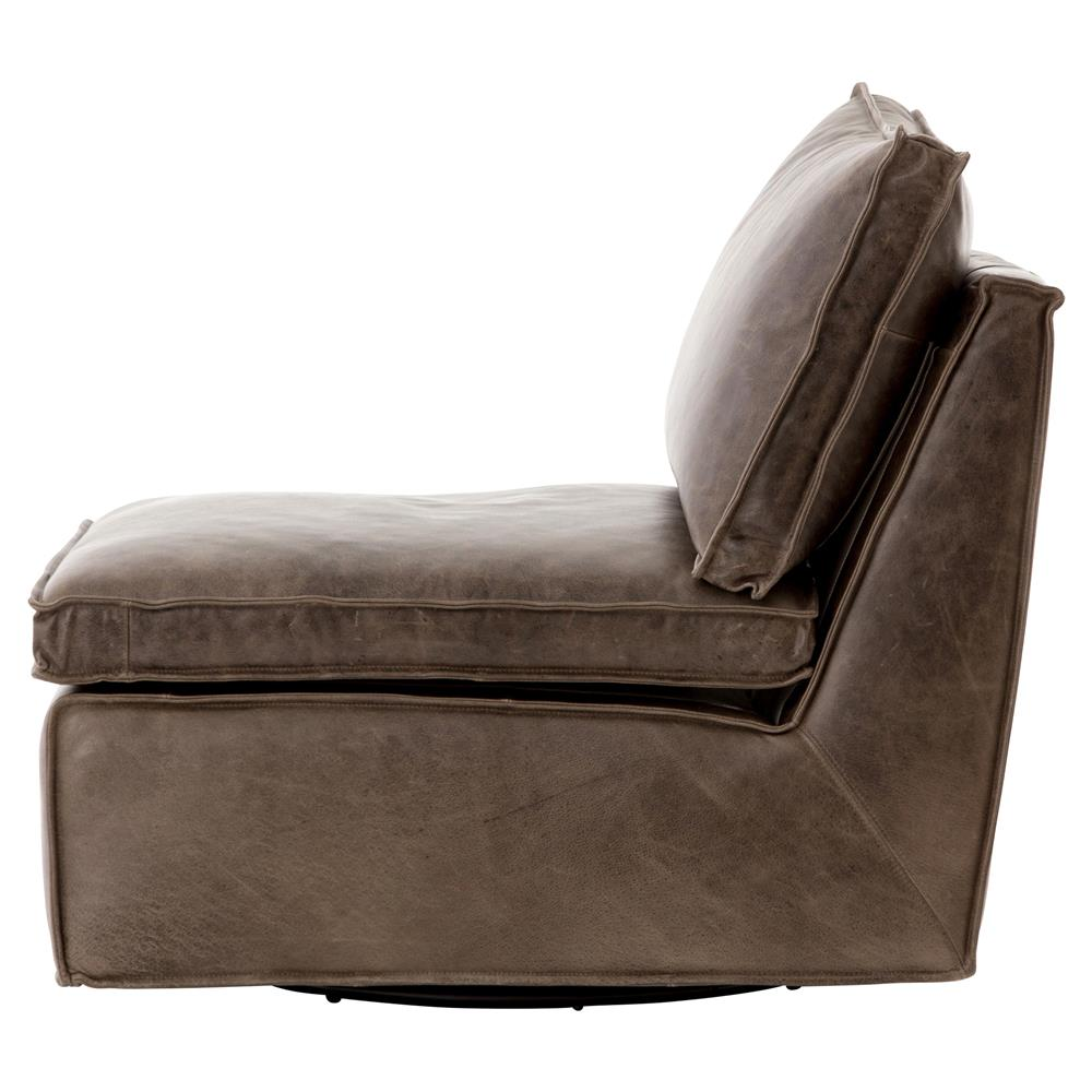 Essa Modern Rustic Espresso Leather Armless Swivel Lounge Chair Kathy Kuo Home