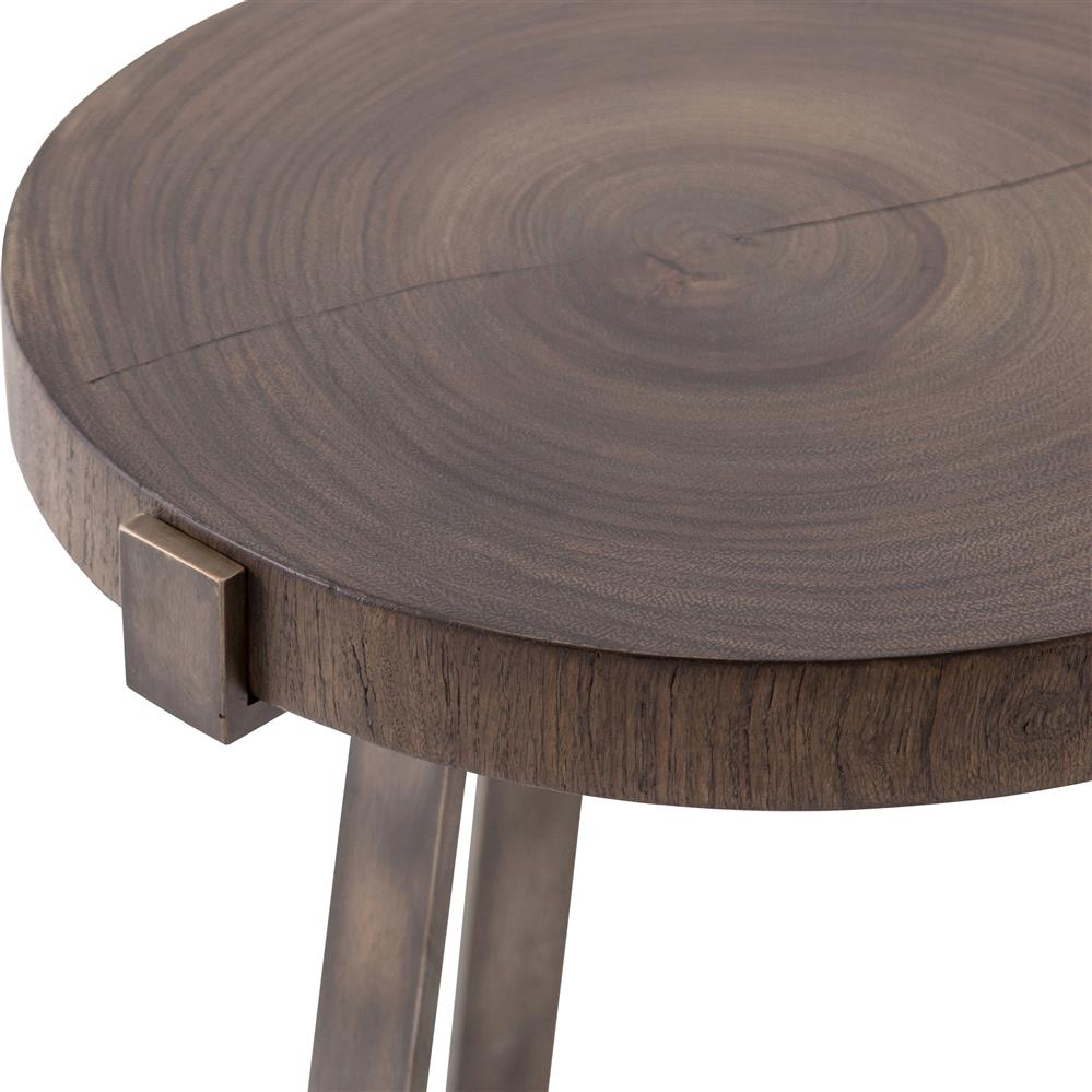 Stephens rustic industrial bronze frame round wood side table for Round wood side table