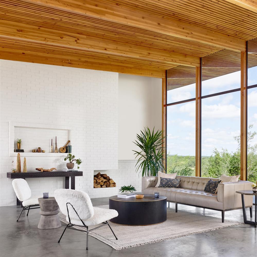 Helio Industrial Loft Grey Concrete Hourglass Side Table Kathy Kuo - Industrial concrete side table