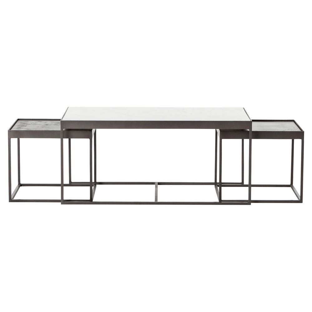 Marble Coffee Table Industrial: Nash Industrial Loft White Marble Iron Nesting Coffee Table