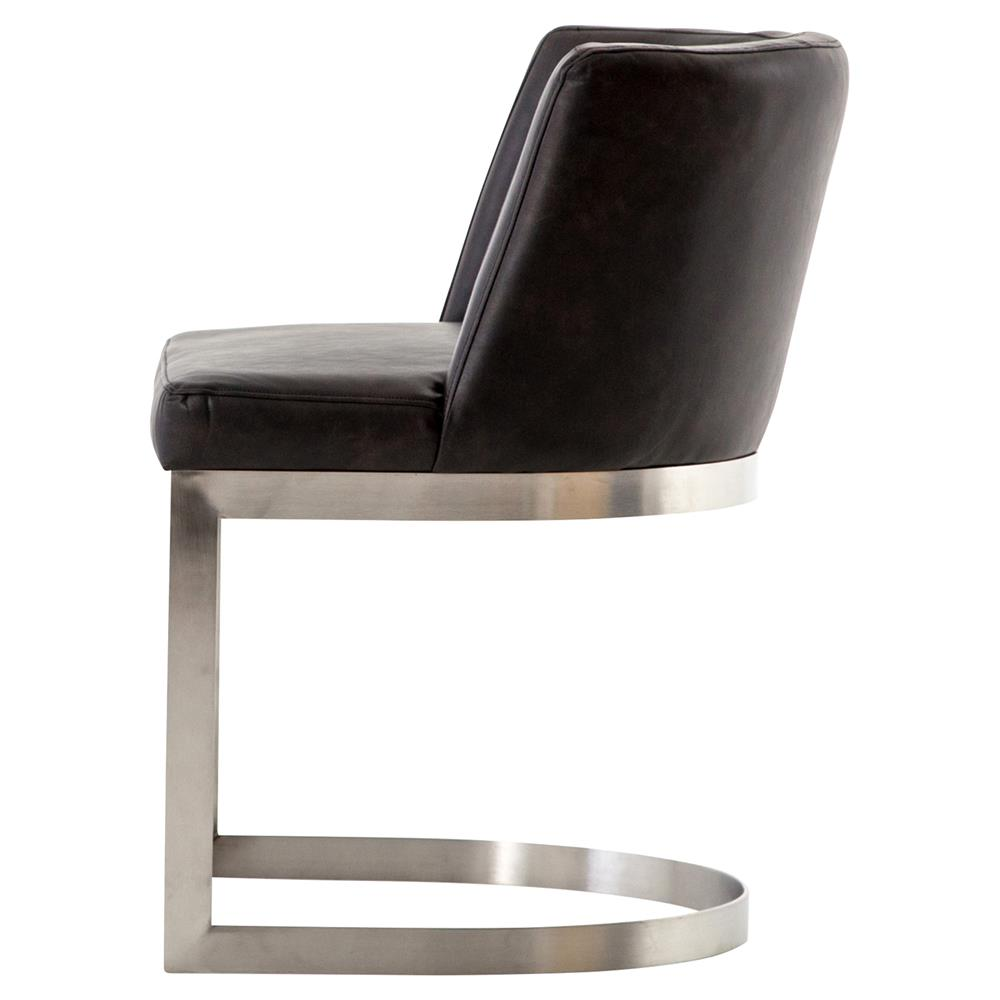Lotan Modern Industrial Black Faux Leather Silver Dining Chair