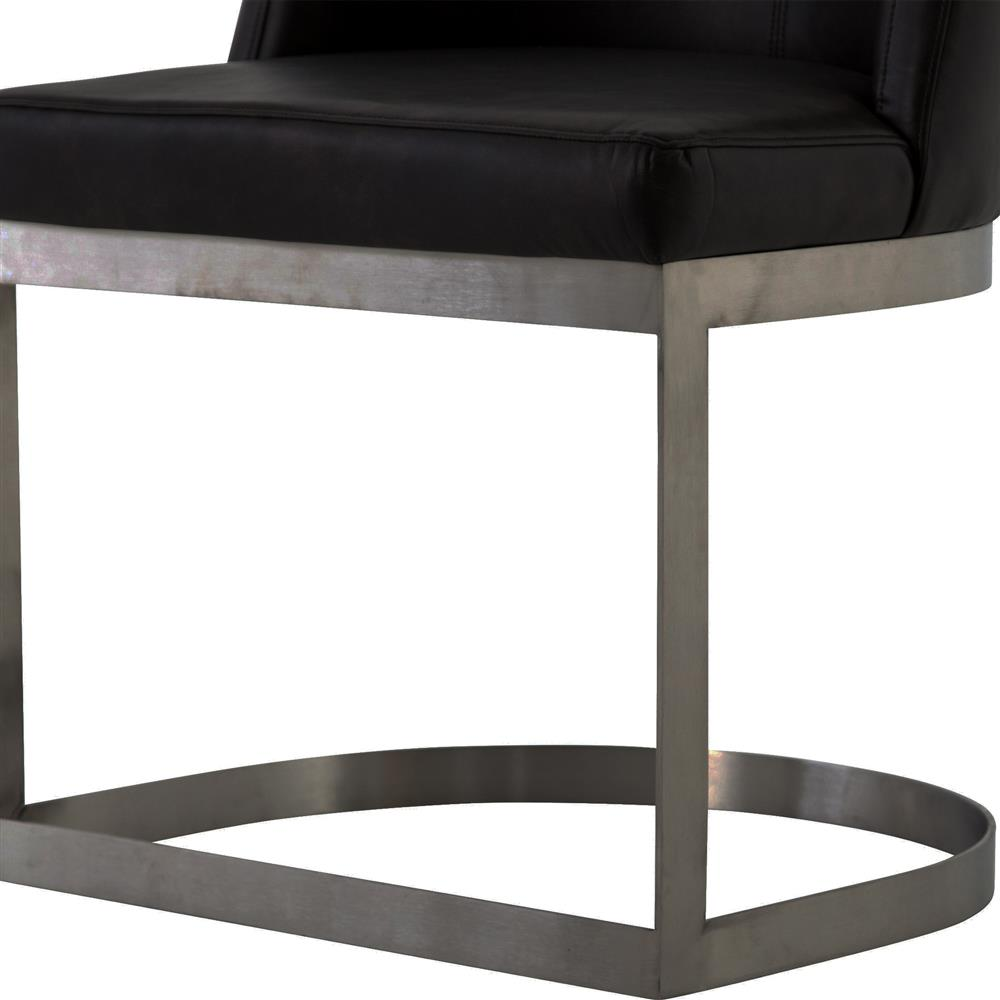 Lotan Modern Industrial Black Faux Leather Silver Dining